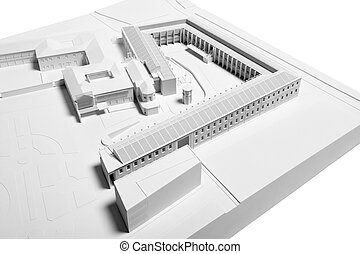 Architectural Model of Building restoration isolated on...