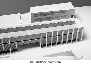 Architectural Model of Building restoration isolated on gray...