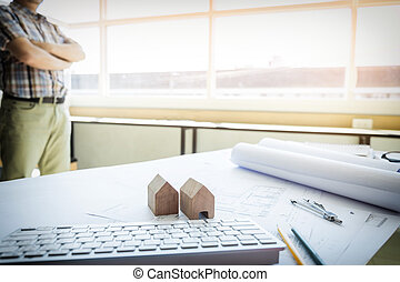 Architectural Office desk background construction project ideas concept, With drawing equipment with mining light