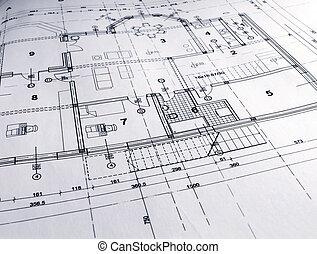 Architectural plan - closeup of architectural plan printout