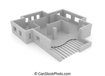Architectural plan concept in 3D