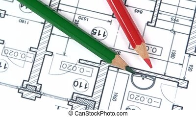 Architectural plan, green, red pencil, rotation
