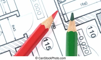 Architectural plan, green, red pencil, rotation, close up