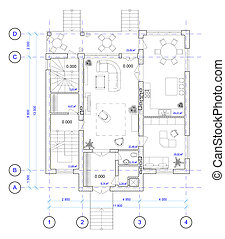 Architectural Plan of 1 floor of ho - Architectural Black ...