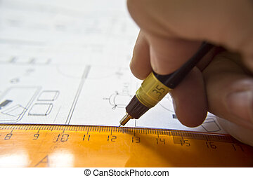 drawing technical letters, close up,architect at work, Architecture planning of interiors design on paper, construction plan---more in my portfolio---
