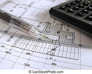 Architectural project - Pencil and calculator on the...