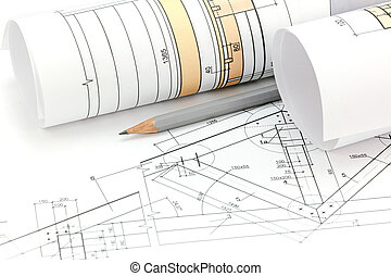 House plan blueprints closeup home plans and drawings stock architectural project drawings blueprint roll and house plan malvernweather Gallery