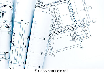 House plan blueprint technical drawing part of picture architectural project drawings blueprint rolls on house plan malvernweather Choice Image