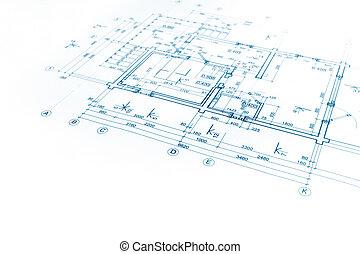 architectural project, floor plan blueprint, construction plan, architectural background