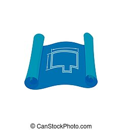 Architectural project icon, cartoon style