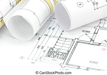 architectural project, technical drawing, blueprint rolls on plan