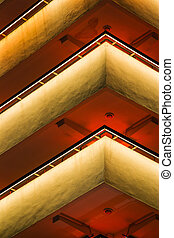 Architectural Repetition of a Building at Night