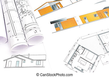 Architectural rolls and plans architects workspace with stock architectural rolls and plans architects workspace with house blueprints malvernweather Images