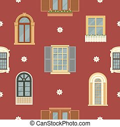 Architectural Seamless Pattern with Detailed Vintage Windows