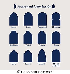 Architectural silhouette icons set - Set of common types of...