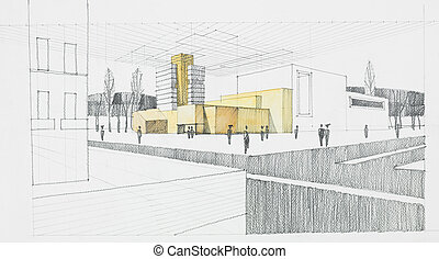 architectural sketch - hand drawn architectural sketch of...