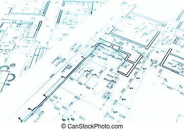 architectural, technique, construction, dessins, fond, plans