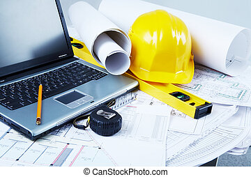 Architectural tools - Image of laptop, architectural tools...