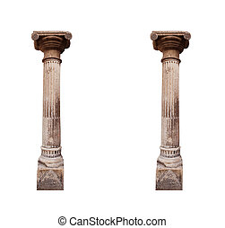 Architectural two columns isolated on a white background