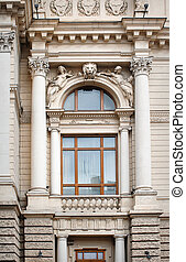 architectural window with columns and moldings barilefom