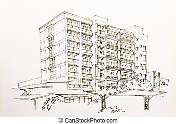 Architectural wire-frame plan - Three directions office...