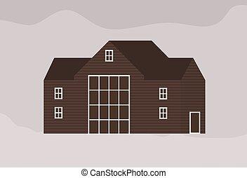 architecture., 家, 郊外, 現代, 外面, ファサド, モノクローム, style., 暮らし, 平ら, 町, コテッジ, 建物, ranch., illustration., 木製である, 住宅, scandic, スカンジナビア人, ベクトル, 支持できる, ∥あるいは∥