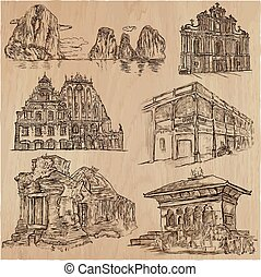 architecture - an hand drawn vector pack, collection.