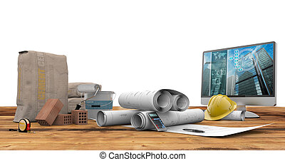 architecture and construction - blueprints, bricks, pc and...