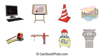 Architecture and construction icons in set collection for design. Architect and equipment vector symbol stock web illustration.
