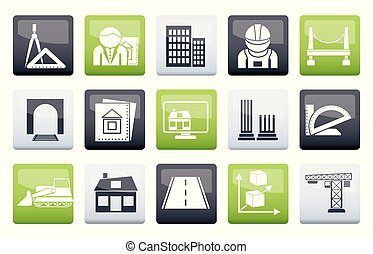 Architecture and construction icons over color background
