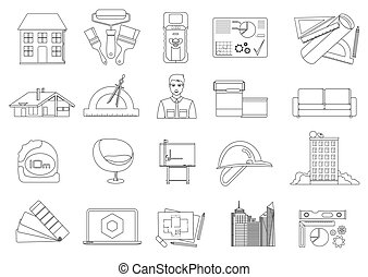 Architecture and Construction line icons set