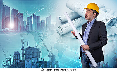 architecture and engineering concept background, 3d illustration