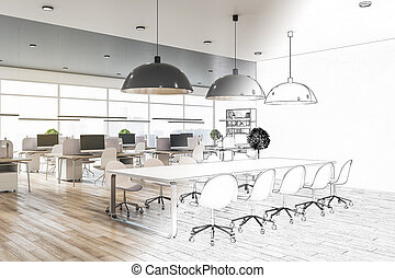 Architecture and engineering concept with blueprint of eco style coworking office interior with big windows