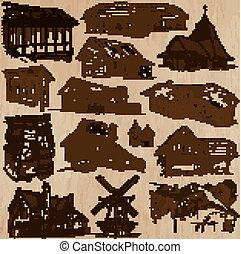 Places and ARCHITECTURE (set no.46). Pack of an hand drawn vector illustrations. Each drawing comprise three layers of lines, colored background is isolated. Easy editable. Focus on: Folk architecture