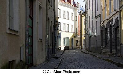 empty street of Tallinn city old town - architecture and ...