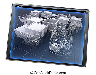 Architecture app - 3D rendering of a tablet pc with an...