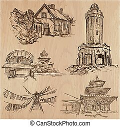 Architecture around the World - An hand drawn vector pack, collection.