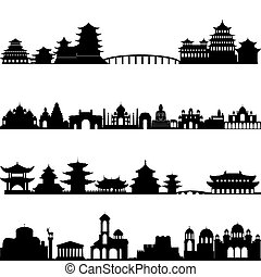 Outlines of buildings and architectural structures. Illustration on white background.