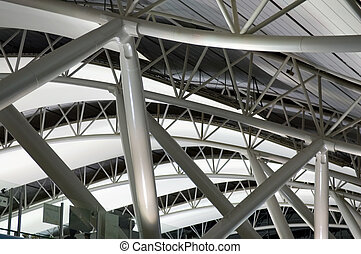 The interior design architecture at the airport, the structure of ceiling