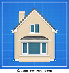 Architecture background with detailed house on a blueprint