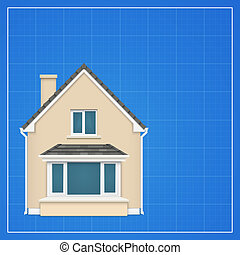 Architecture background with detailed house on a blueprint. Vector illustration