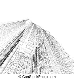 Architecture blueprint of skyscraper on black background
