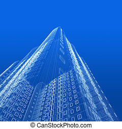 Architecture blueprint of skyscraper on blue background