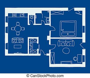 Architectural blueprint with plan architectural plan of clip art architecture blueprint plan malvernweather Choice Image