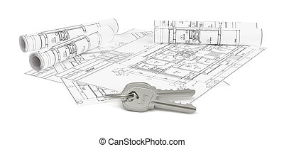 Architecture blueprints with two house keys