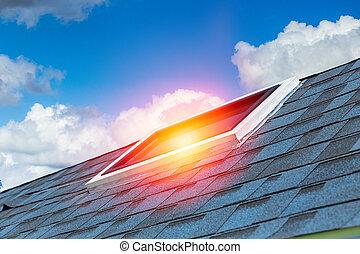architecture., casa, energia, telhado, desenho, sol, salvar