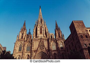 architecture., cathédrales, barcelone, une