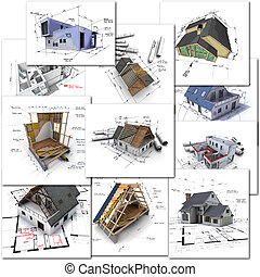Architecture collection - Collage of construction and...