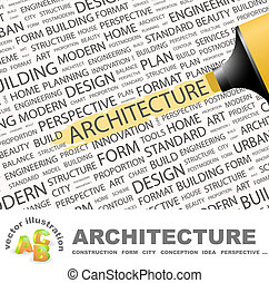 ARCHITECTURE. Concept illustration. Graphic tag collection. ...