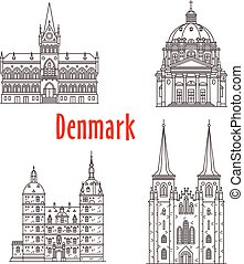 Architecture Denmark landmark vector buildings